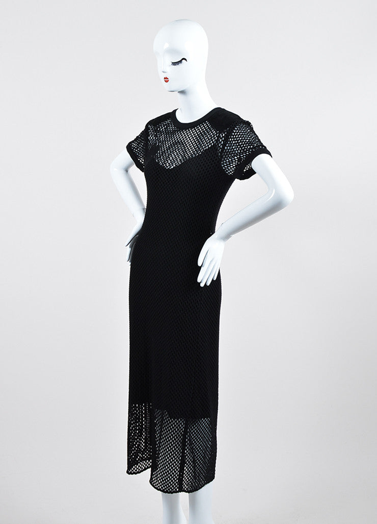 Black Tamara Mellon Knit Eyelet Suede Detail Layered Short Sleeve Dress Sideview