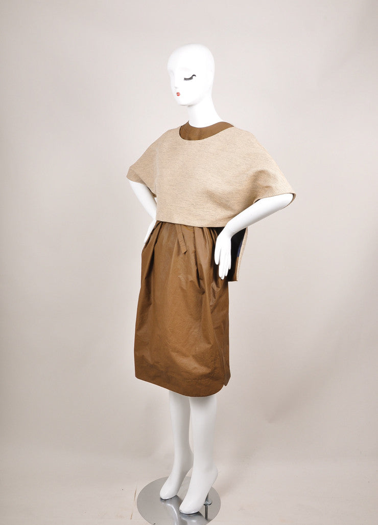 "The Row New With Tags Brown and Beige Coated Tweed Overlay ""Lia"" Combo Dress Sideview"