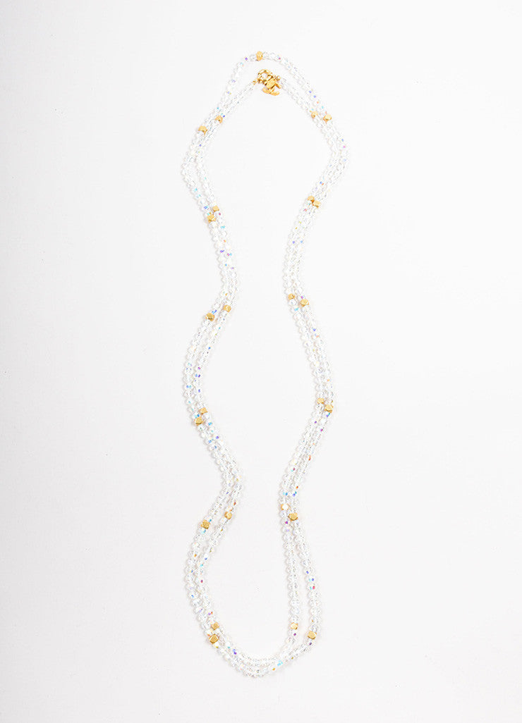 "Chanel Iridescent Crystal and Gold Toned ""CC"" Sautoir Necklace Frontview"