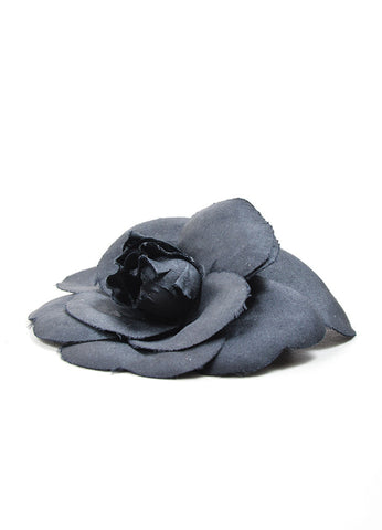 Chanel Black Silk Camellia Flower Brooch  Sideview
