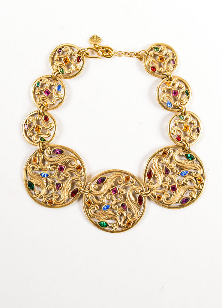 Gold Toned and Multicolor Yves Saint Laurent Jewel Medallion Necklace Frontview