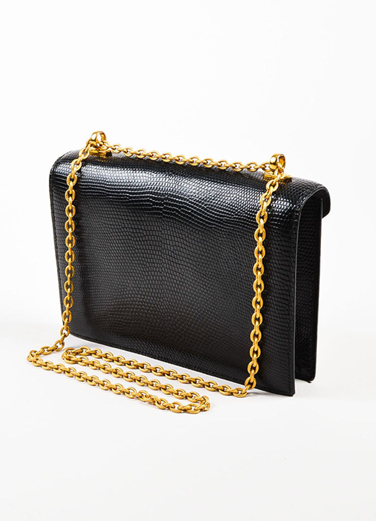 "Hermes Black Lizard Gold Toned Metal Chain ""Alcazar"" Shoulder Bag Sideview"