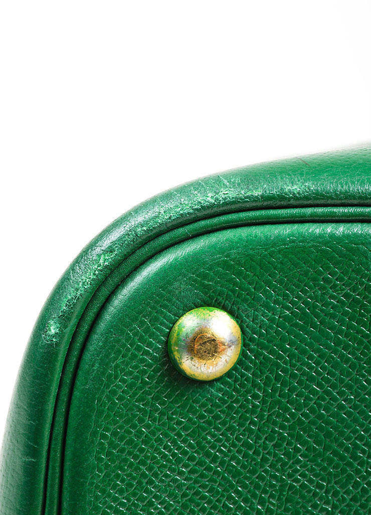 "Kelly Green Hermes Leather ""Bolide 35cm"" Structured Satchel Bag Detail 2"