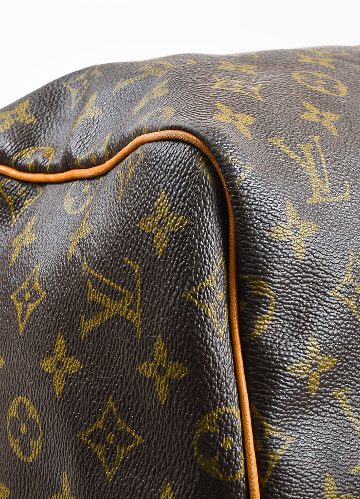"Louis Vuitton Brown and Tan Coated Canvas and Leather Monogram ""Keepall 60"" Bag Detail"