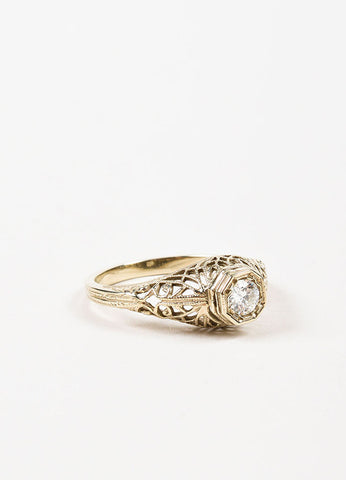 White Gold and Diamond Round Cut Edwardian Engagement Ring Sideview