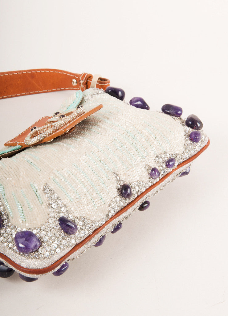 Valentino Brown, White, and Purple Leather Trim Sequin Beaded Embellished Flap Bag Bottom View