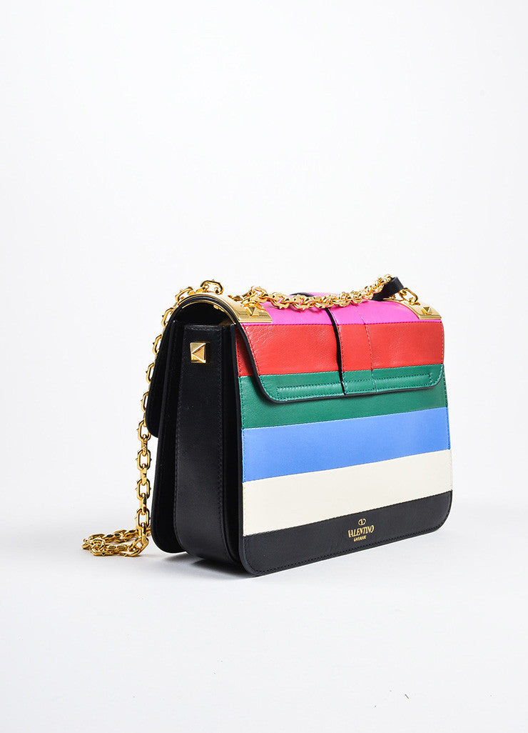"Multicolor Valentino Garavani Leather Stripe ""B Rockstud"" Flap Handbag Sideview"