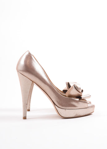 Valentino Metallic Gold Suede Bow Peep Toe Platform Pumps Sideview