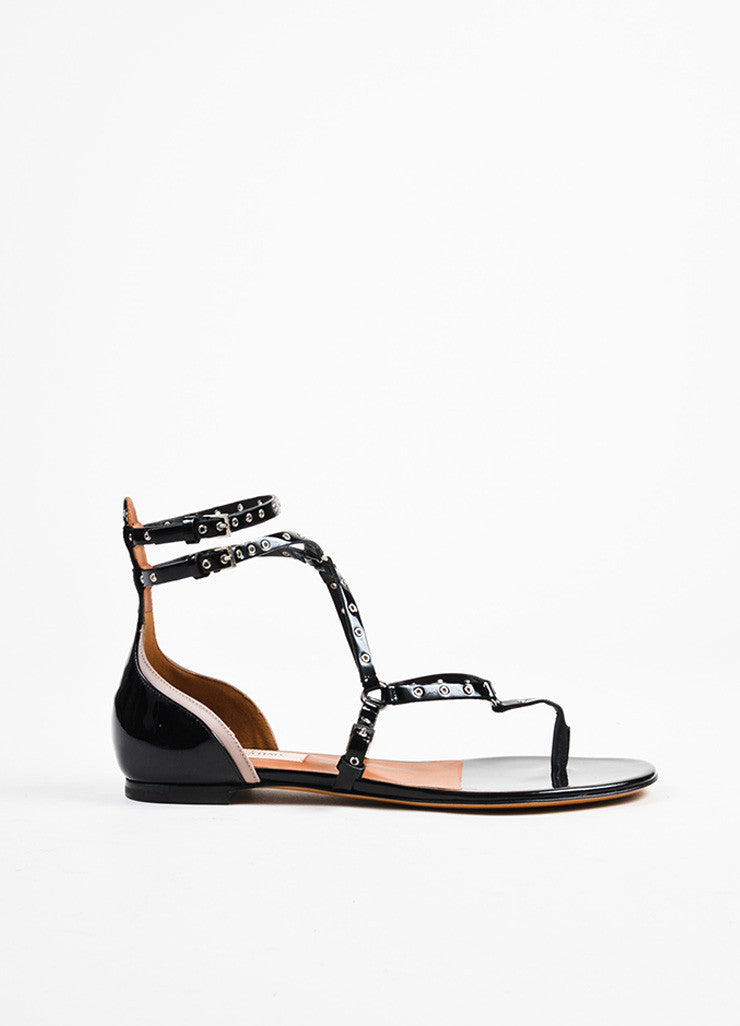 "Valentino Black Patent Grommet ""Love Latch"" Gladiator Sandals Sideview"