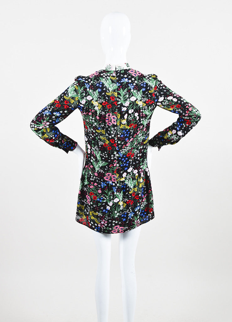 Valentino Black Multicolor Silk Floral Print Drop Waist Dress Backview