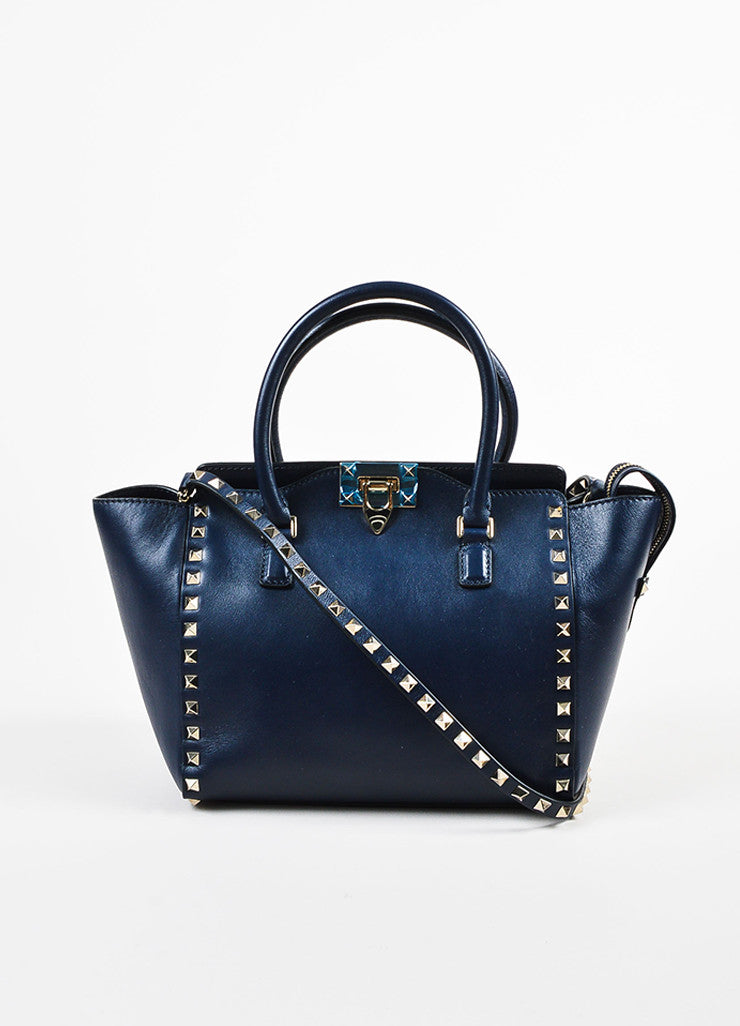 "Valentino Navy Blue Lambskin Small ""Rockstud"" Tote Bag Front"