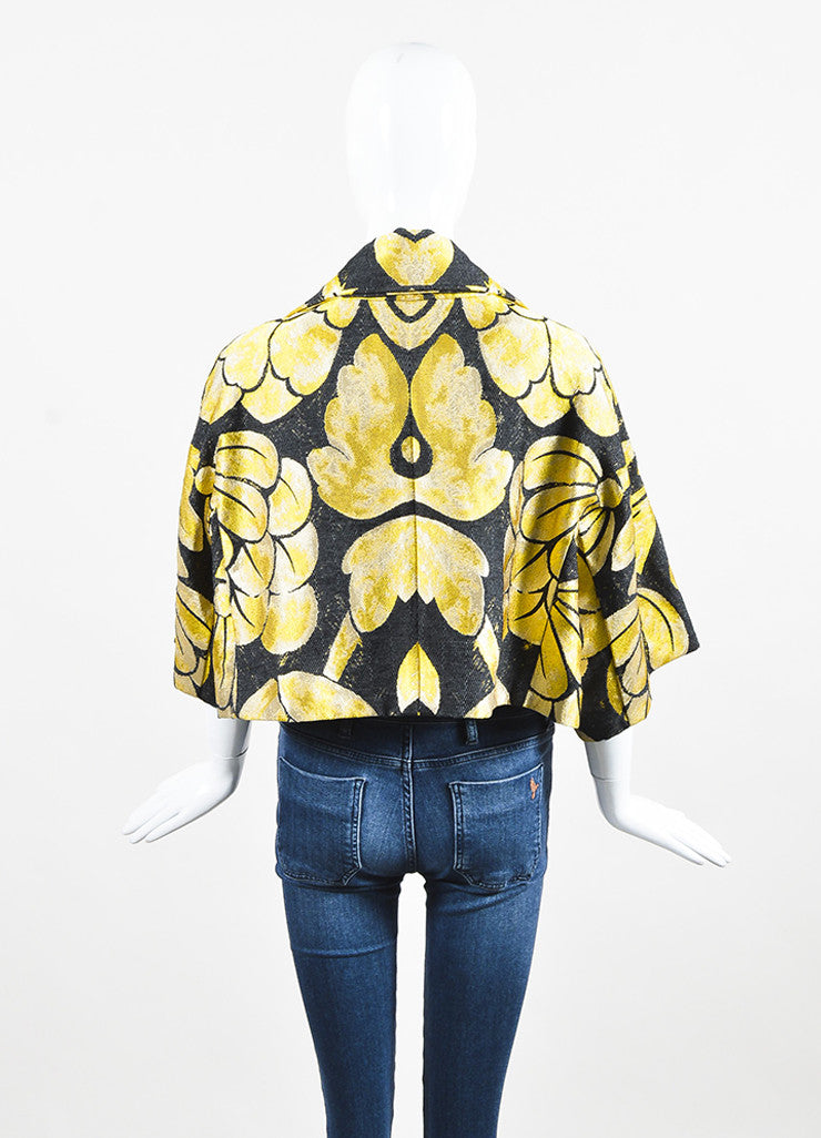 Black & Yellow Vera Wang Floral Print Brocade Cropped Jacket Back