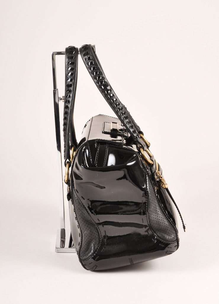 Versace Black Patent Leather Handbag Sideview