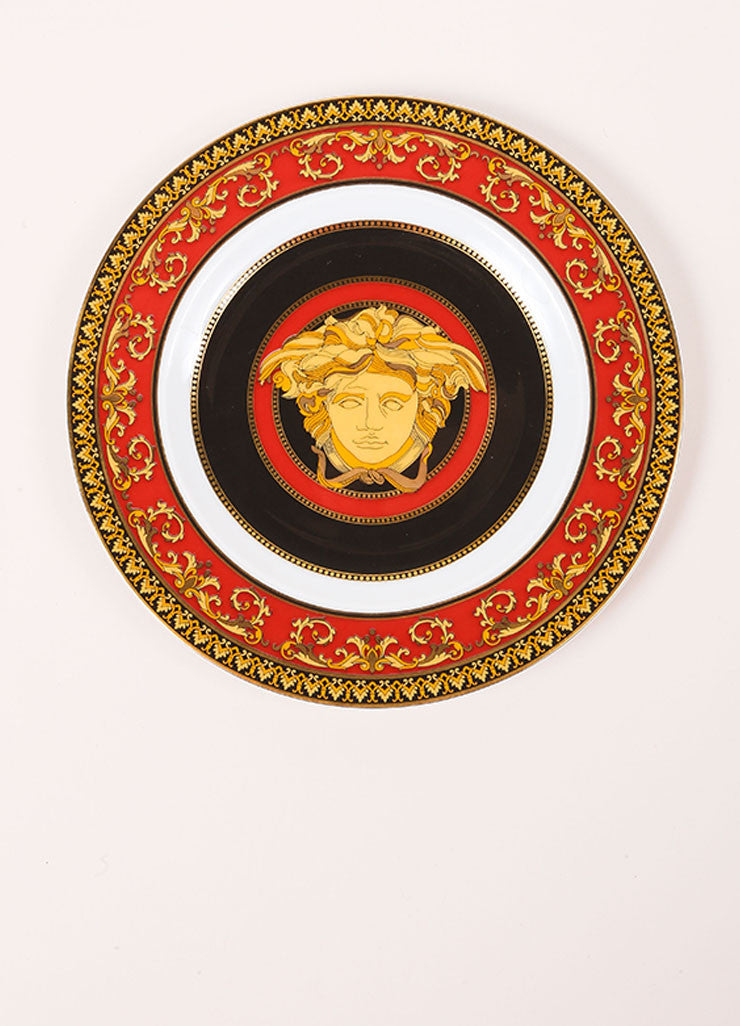 "Versace Ronsenthal Red, Black, and Gold Toned ""Medusa"" 7 inch Bread and Butter Plate Frontview"