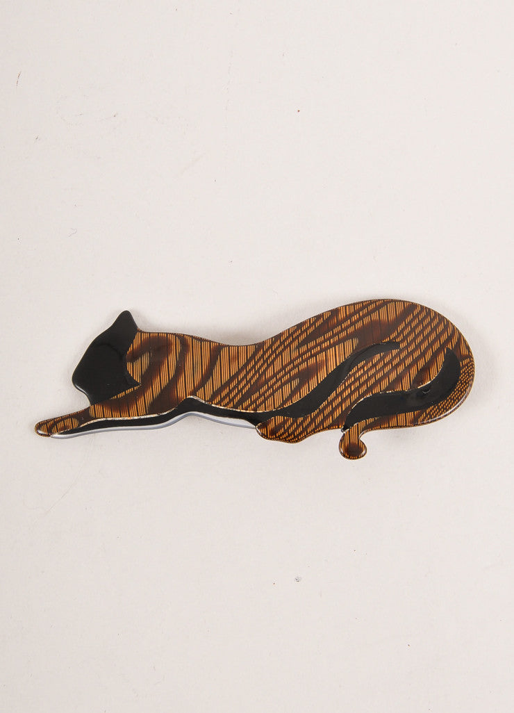 Lea Stein Brown and Black Acetate Stretching Cat Brooch Frontview