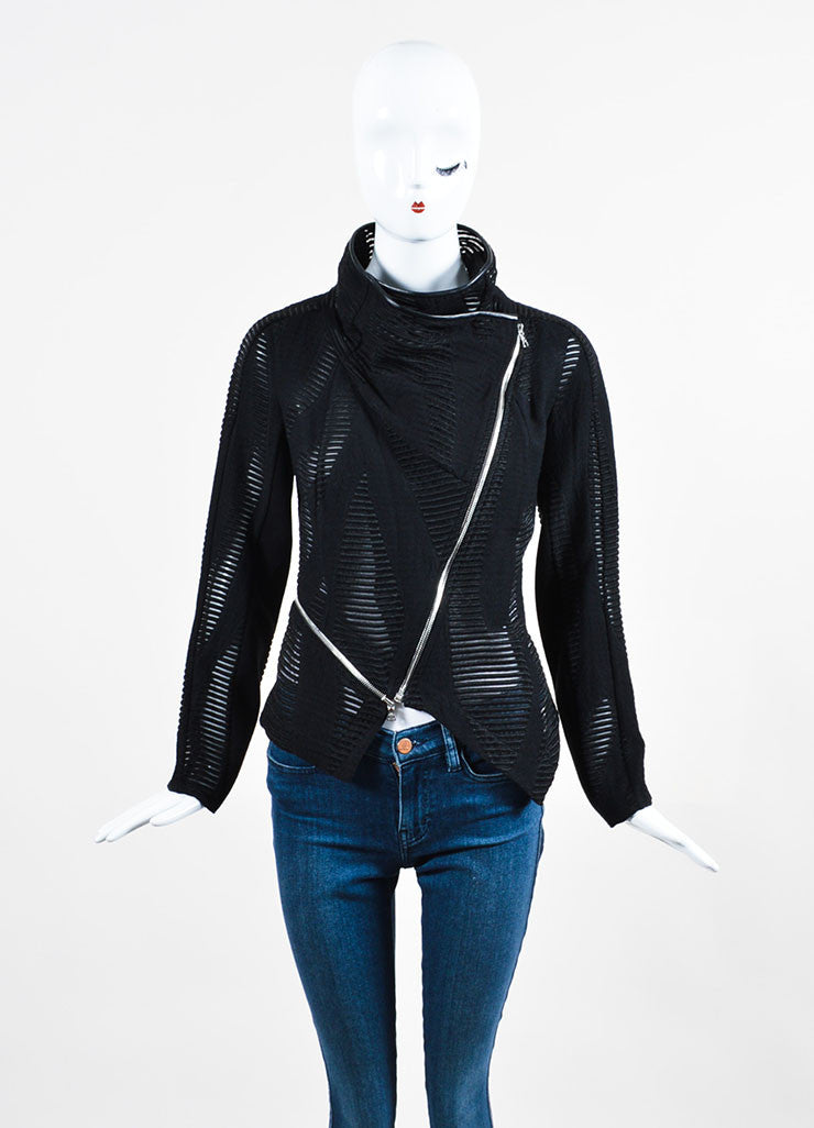 Yigal Azrouel  Black Wool Sheer Cut Out Asymmetrical Jacket Frontview 2