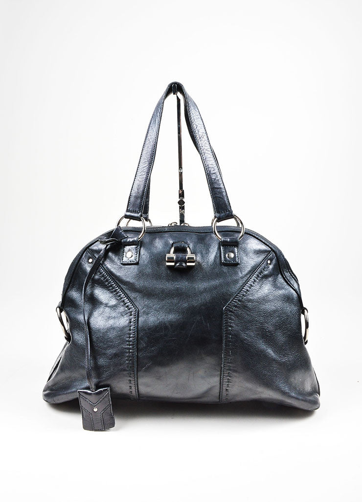 "Black and Silver Toned Yves Saint Laurent Leather ""Muse"" Tote Bag Frontview"