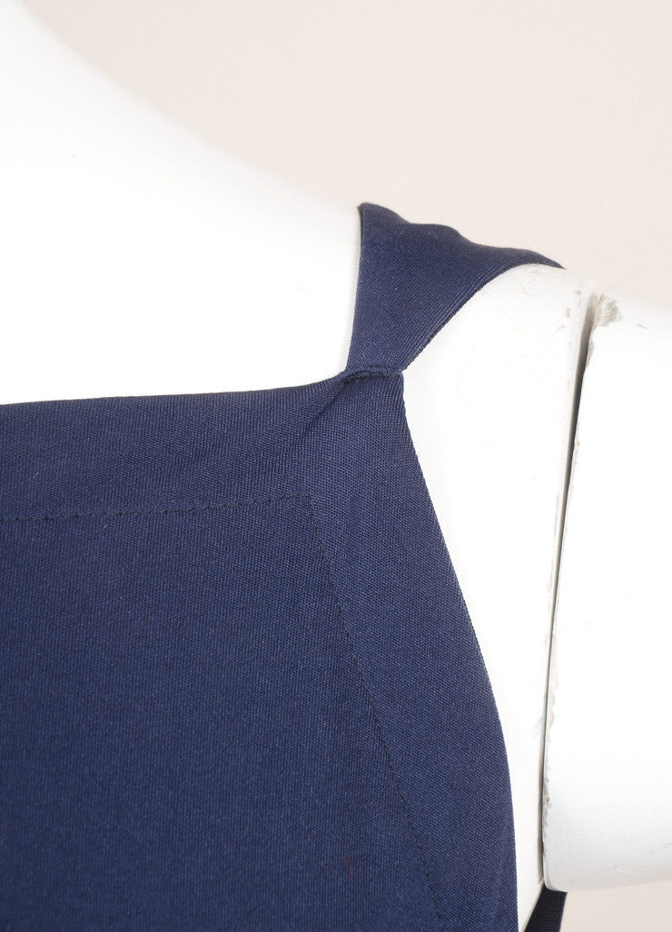 Yves Saint Laurent Blue Sleeveless Draped Gown Detail