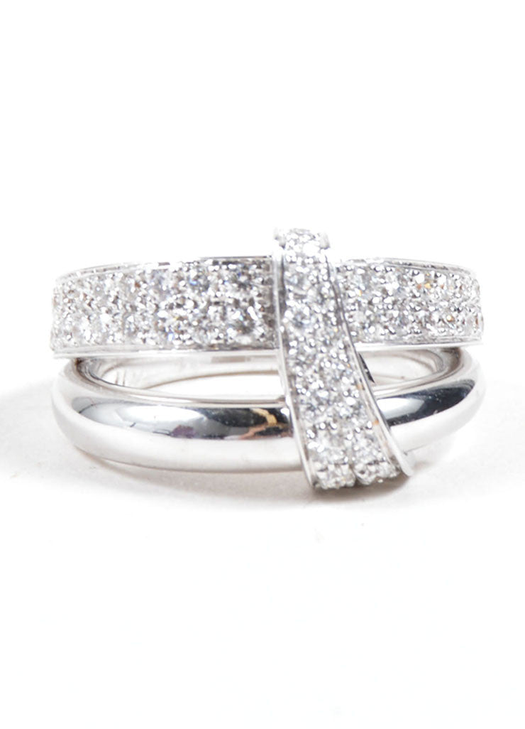 "Asprey of London 18K White Gold Pave Diamond Signature ""A"" Ring Frontview"