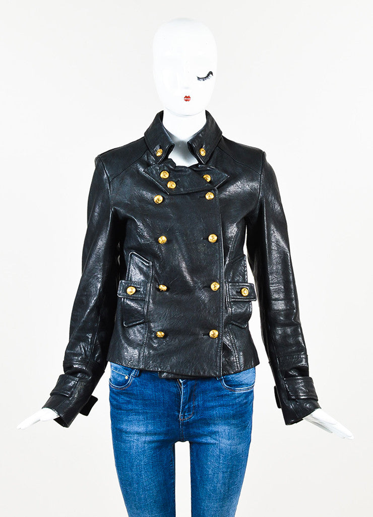 B&W Black Leather Gold Tone Button Double Breasted LS Jacket Front 2