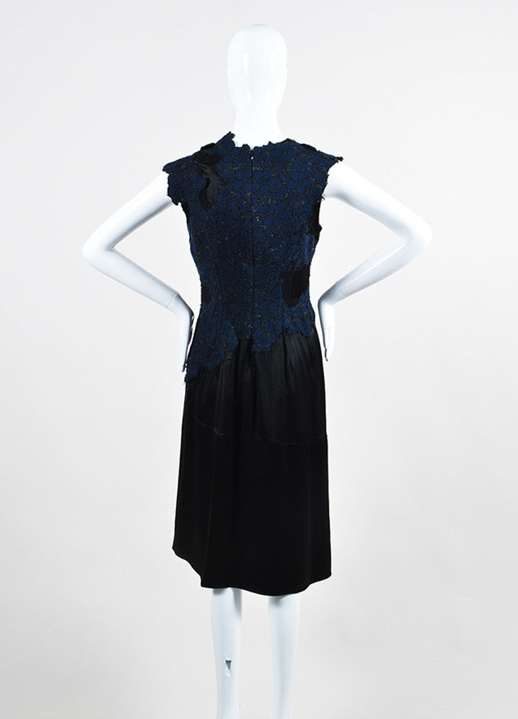 Navy and Black 3.1 Phillip Lim Sateen Lace Overlay Cap Sleeve Dress Backview