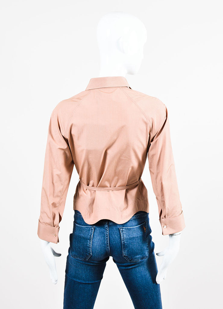 Nude Alaia Cotton Poplin Belted Three Quarter Sleeve Blouse Backview