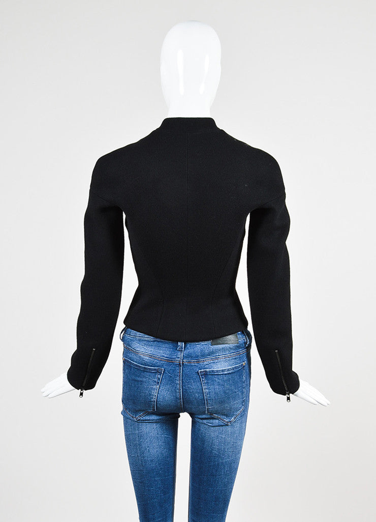 Black Alaia Wool Zip Front Structured Jacket Backview
