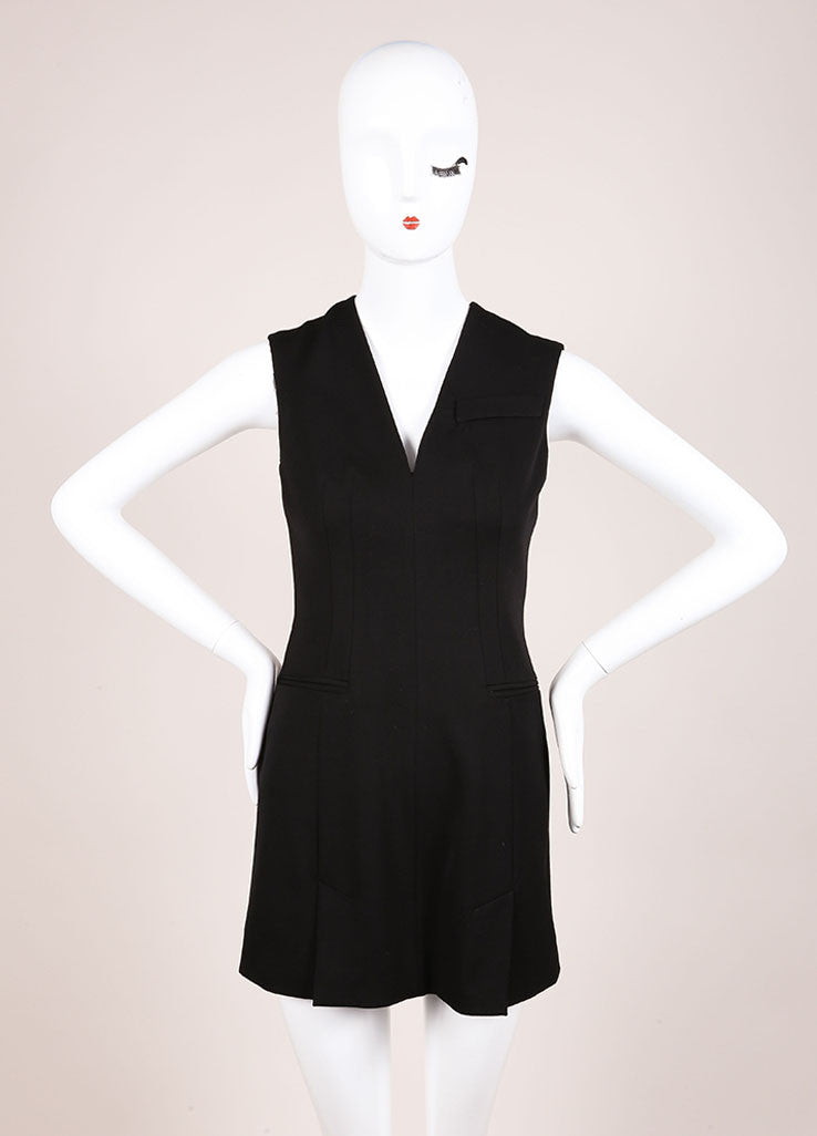 Alexander McQueen Black Sleeveless Wool Mini Suiting Dress Frontview