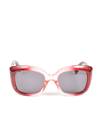 "Red Ombre Translucent Square Cat Eye Alexander McQueen ""4235 S"" Sunglasses Frontview"