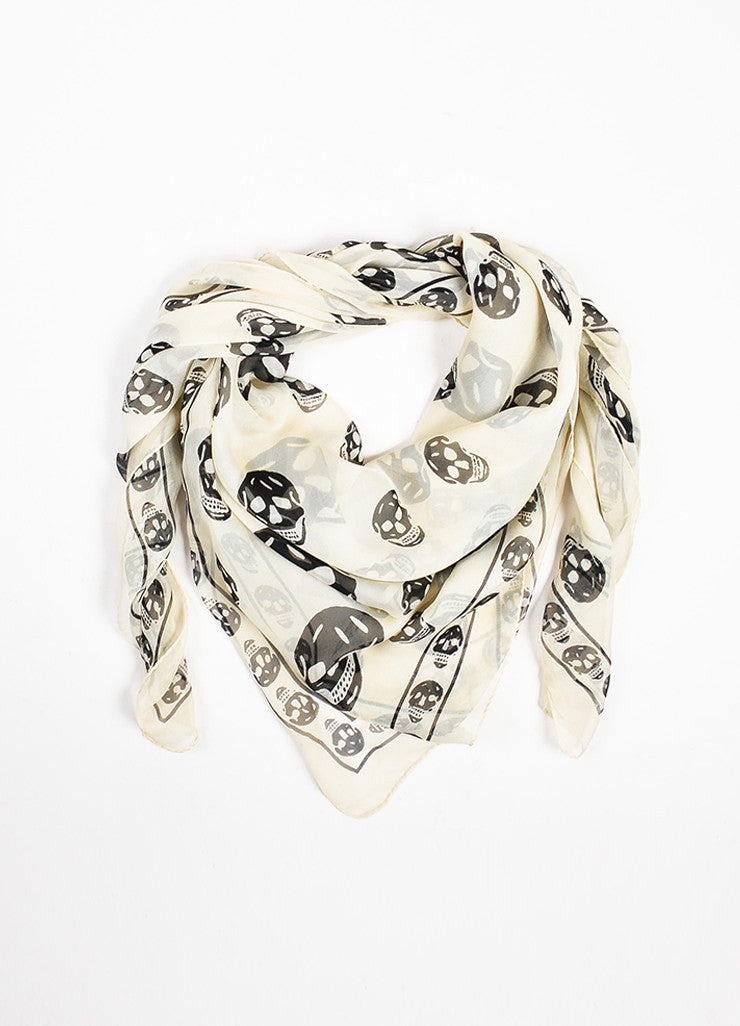 Alexander McQueen Cream and Black Silk Skull Print Sheer Scarf Frontview