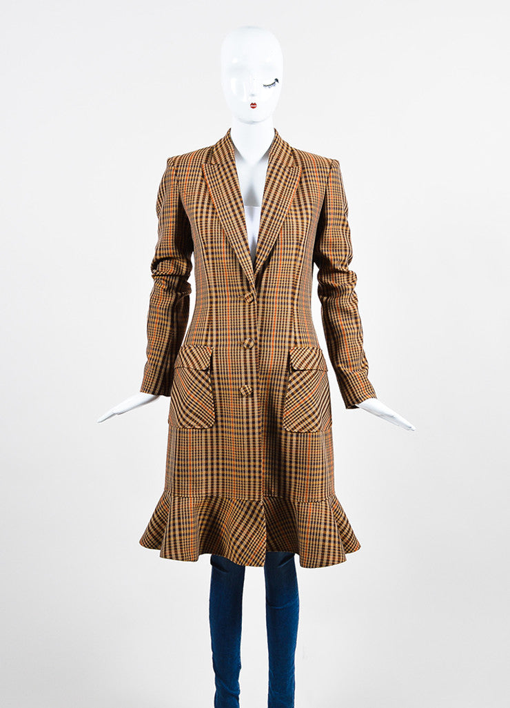 "Brown, Tan, and Orange Altuzarra Houndstooth ""Cooper"" Long Coat Frontview 2"