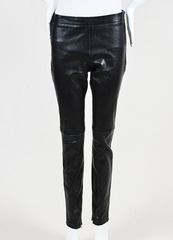 Andrew Gn Black Leather Legging Pants Frontview