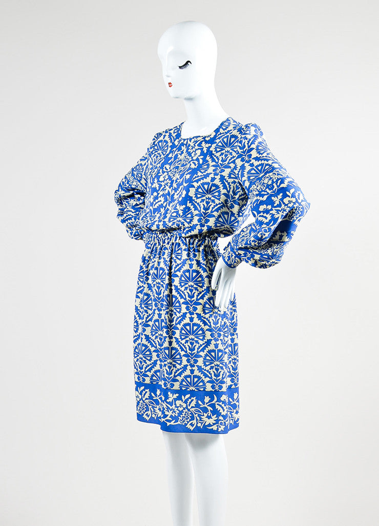 Royal Blue and Cream Andrew Gn Silk Floral Print Long Sleeve Dress Sideview
