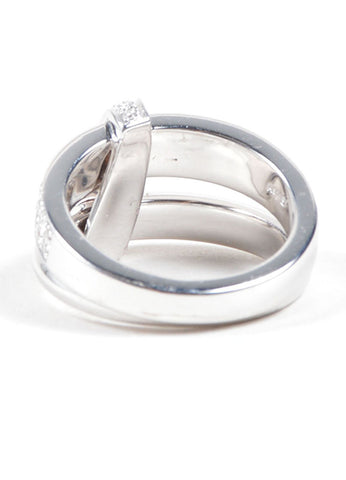 "Asprey of London 18K White Gold Pave Diamond Signature ""A"" Ring Sideview"