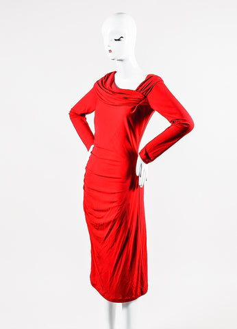 Red Badgley Mischka Stretch Jersey Crepe Long Sleeve Ruched Dress Front