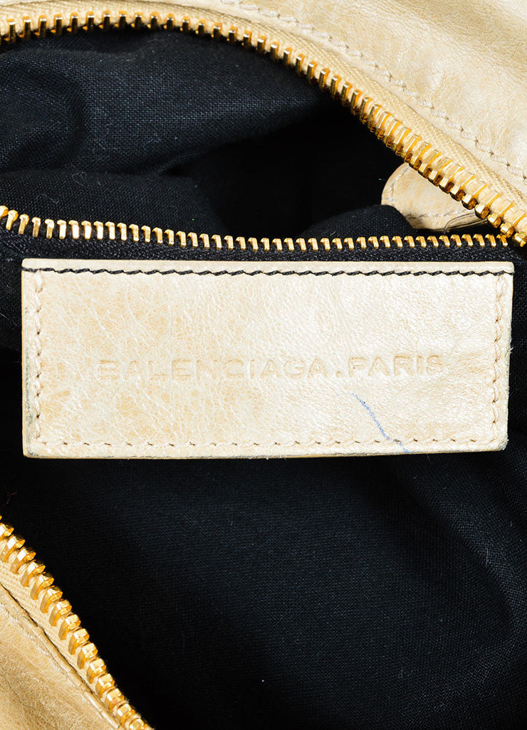 "Beige Leather Balenciaga ""Motocross Giant Brief"" Bag Brand"