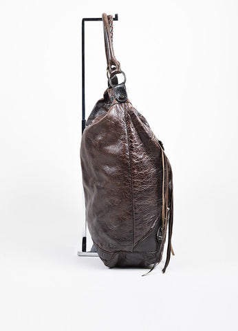 "Balenciaga Dark Brown Leather ""Classic Day"" Bag Sideview"