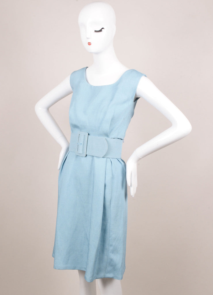 Balenciaga Edition Light Blue Woven Sleeveless Sheath Dress Sideview