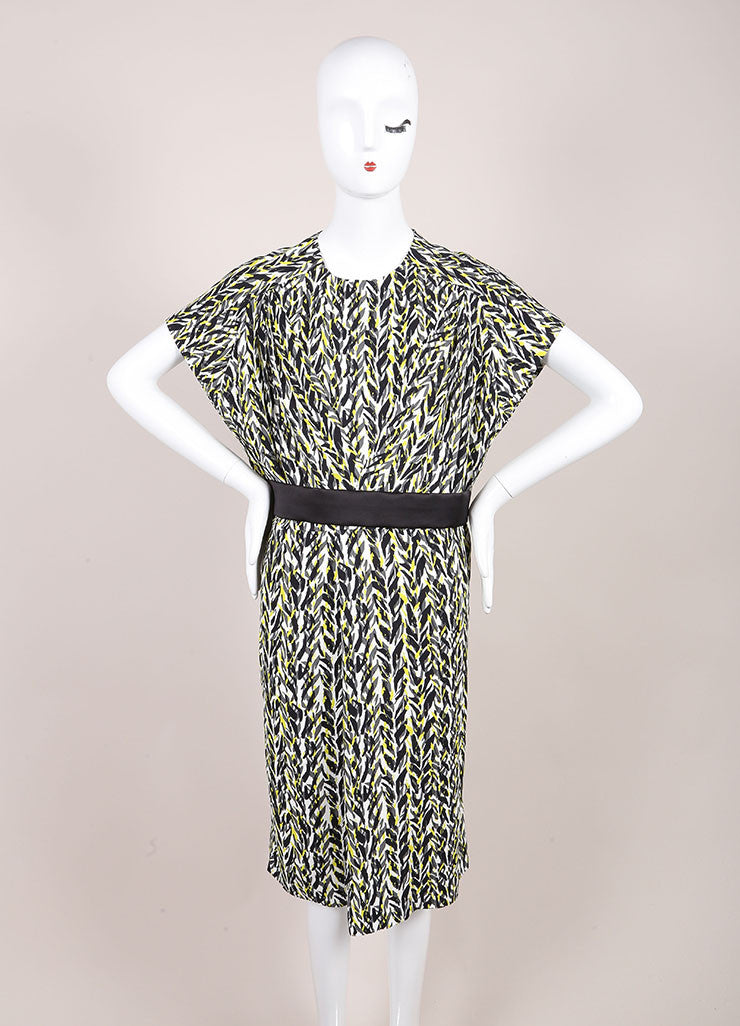 Balenciaga New With Tags White, Black, Neon Yellow Graphic Print Belted Dress Frontview