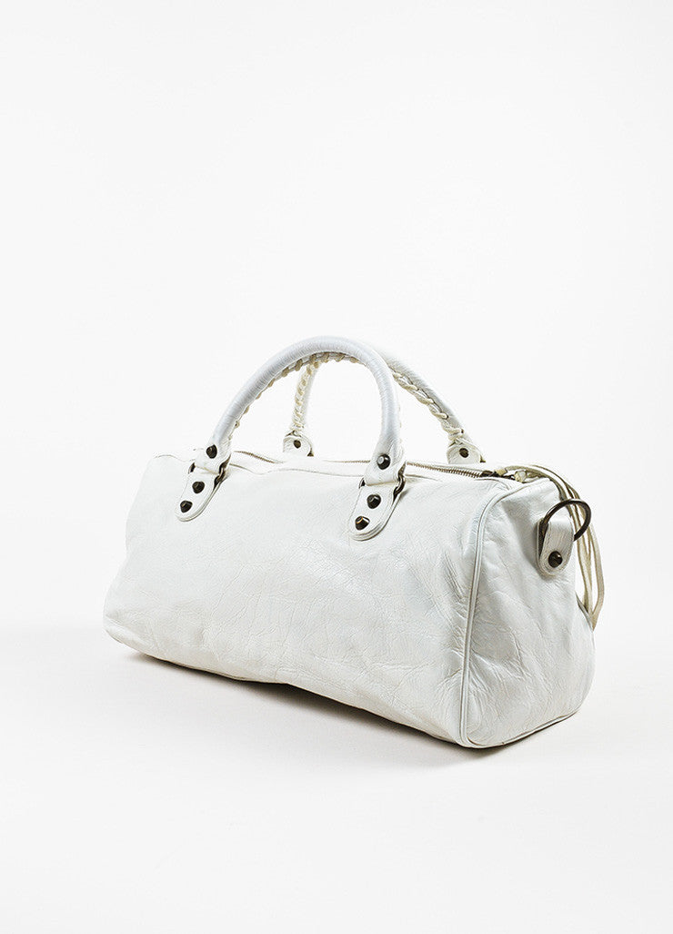 "Balenciaga White Leather Classic Stud ""Twiggy"" Satchel Bag Sideview"