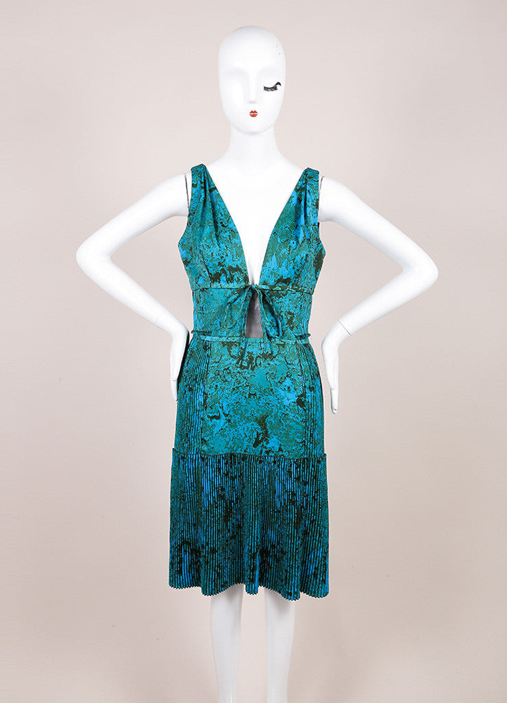 Bottega Veneta Blue and Green Printed Sleeveless Pleated Dress Frontview