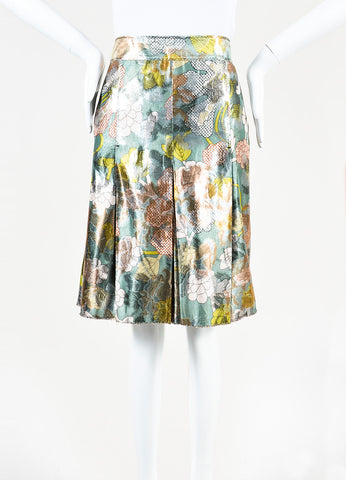 Bottega Veneta Green, White, and Silver Metallic Floral Print A-Line Skirt Frontview