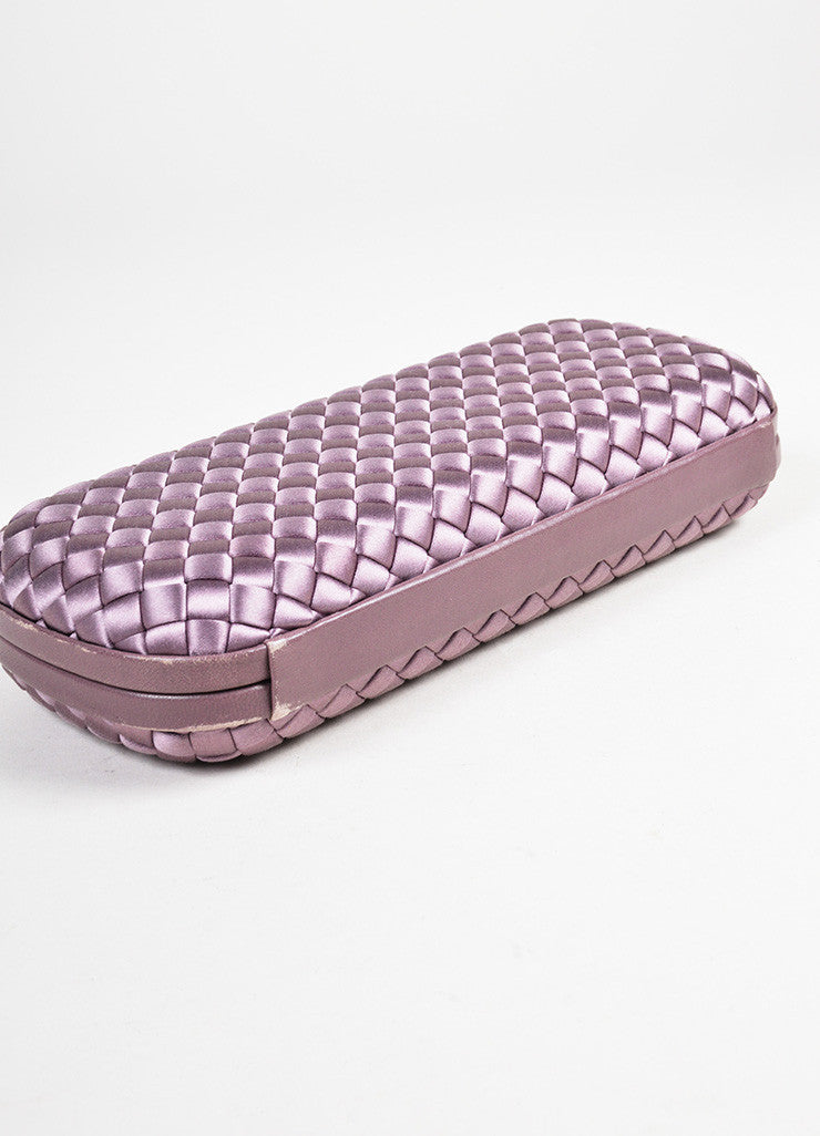 "Bottega Veneta Purple Woven Satin Leather Trim ""The Knot"" Clutch Bag Bottom View"