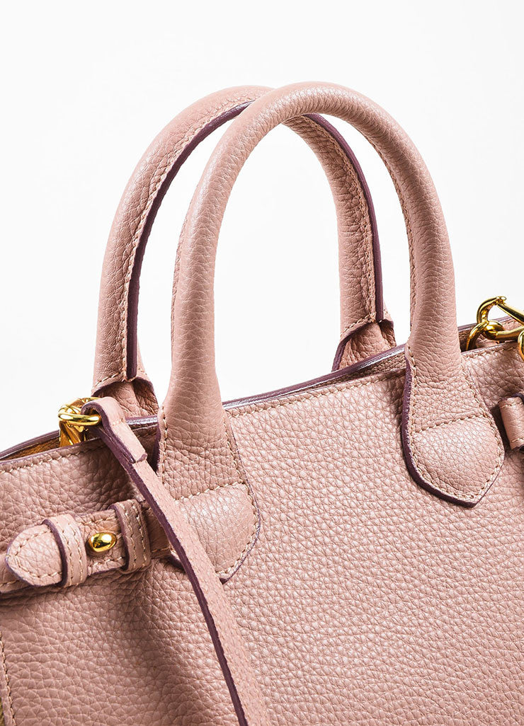 "Burberry Blush Pink Leather House Plaid Check ""Small Banner"" Satchel Bag Detail 2"