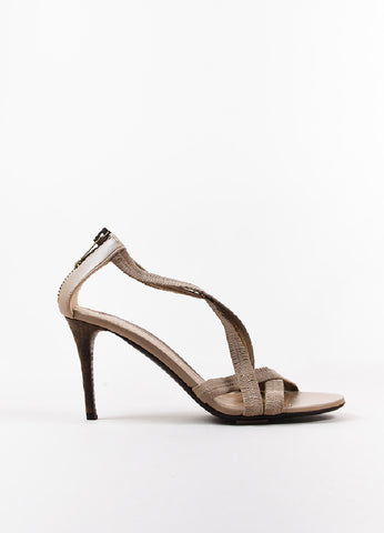 Burberry Beige Leather Ruched Strap Sandal Heels Sideview
