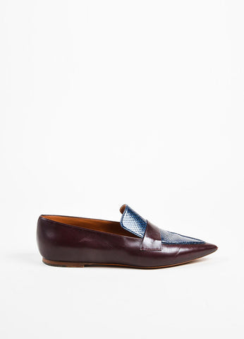 Celine Burgundy Red and Navy Blue Leather and Snakeskin Pointed Flat Loafers Sideview