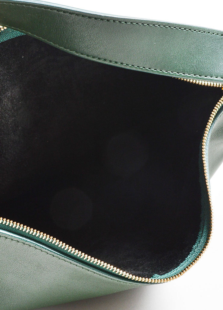 Green Leather Celine Zip Flat Shoulder Bag Interior