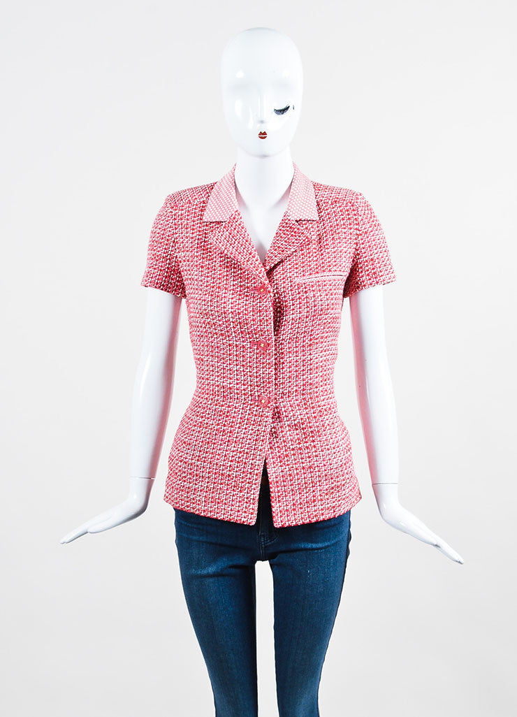 Pink Chanel Wool and Cotton Blend Tweed Short Sleeve Tailored Jacket Frontview