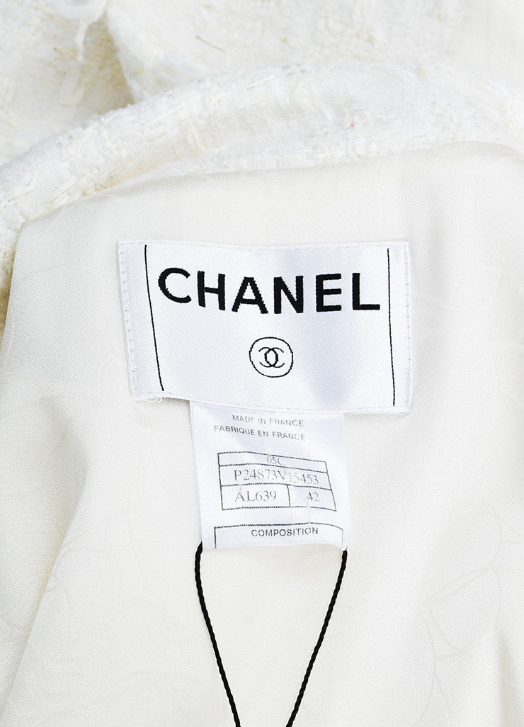 Chanel Cream Tweed Silver Toned Camellia Flower Button Jacket Brand