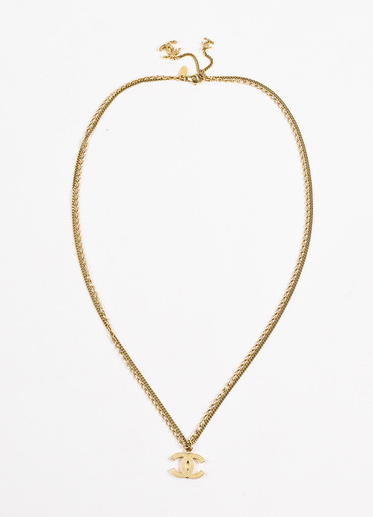 Gold Tone Chanel Double Mixed Link Chain 'CC' Logo Pendant Necklace Front